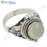 High Quality Rainbow MoonStone  Silver Ring