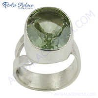 Excellent New Silver Green Amethyst Ring