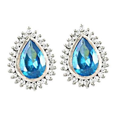 Attractive Blue Topaz & Cubic Zirconia Gemstone Silver Earrings