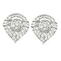 Unique CZ Silver Gemstone Earrings With Stud