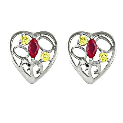 Stylish Heart Shape Silver Earrings With Stud