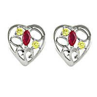 Stylish Heart Shape Silver Earrings With Stud