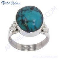 New Natural Turquoise Gemstone Silver Ring