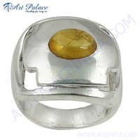 Hot Selling Golden Rutil Gemstone Silver Ring
