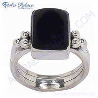 Cute 925 Sterling Silver Black Onyx Gemstone Ring