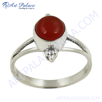 Best Selling Silver Gemstone Ring With Carnelian