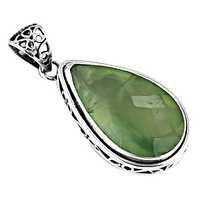 Festive Jewelry,Prenite Gemstone Silver Pendant