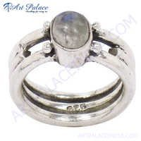 Latest Style Silver Rings With  Rainbow Moonstone