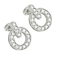 Stylish 925 Sterling Silver Cubic Zirconia Gemstone Silver Earrings