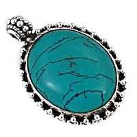 Traditional Turquoise Gemstone Silver Pendant
