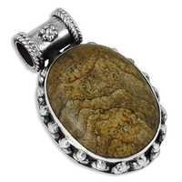 Fashionable Jasper Gemstone Silver Pendant