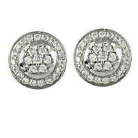 Rocking Style Cubic Zirconia Gemstone Silver Earrings