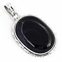 Midnight Black Onyx Gemstone Silver Pendant