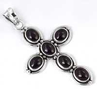 Unusual Garnet Gemstone Cross Silver Pendant