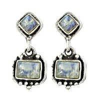 Rainbow Moonstone Gemstone Sterling Silver Earrings