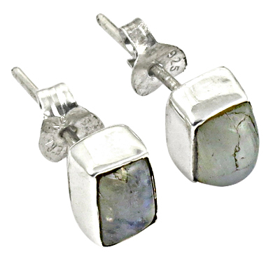 Excellent New Silver Rainbow Moonstone Gemstone Earrings