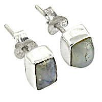 Excellent New Silver Rainbow Moonstone Gemstone Earrings