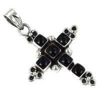 Fabulous Black Onyx Gemstone Silver Cross Pendant