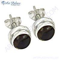 New Fashion Silver Smokey Quartz Gemstone Earrings
