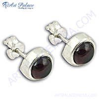 Classic 925 Silver Garnet Gemstone Earrings
