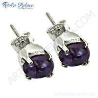 Bold & Beautiful Amethyst Gemstone Silver Earrings