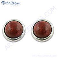 Top Design Silver Red Coral Gemstone Earrings