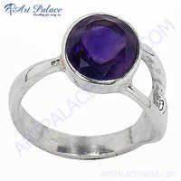 Latest Style Silver Rings With  Amethyst