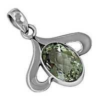 Fashionable Popular Green Amethyst Gemstone Silver Pendant
