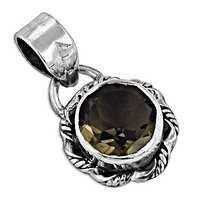 Designer Smokey Gemstone Silver Pendant