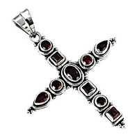 Hot Garnet Gemstone Silver Cross Pendant
