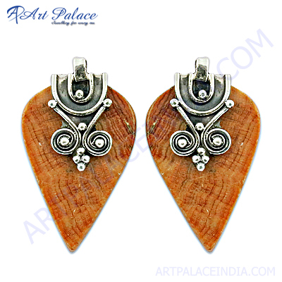 Natural Gemstone Silver Jewelry, Wooden Silver Earring