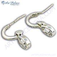 High Quality Cubic Zirconia Gemstone Silver Earrings