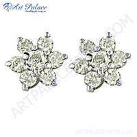 Cubic Zirconia Sterling Silver Gemstone Earrings