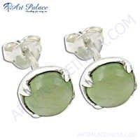 New Design Fashion Prenite Silver Gemstone Earrings