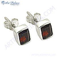 Rocking Style Garnet Gemstone Silver Earrings