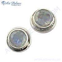 Silver Rainbow Moonstone Earrings New Arrival