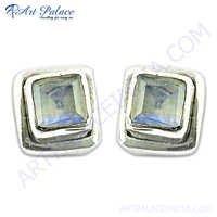 Sterling Silver Rainbow Moonstone Gemstone Earrings