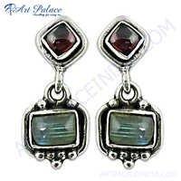 Garnet, Labradorite Earrings, Gemstone Jewelry, Silver Earrings