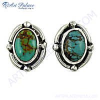 Terquoise Gemstone Silver Earrings