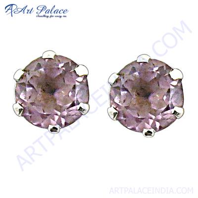 Handmade 925 Sterling Silver Stud Earrings With Amethyst