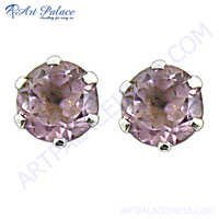 Handmade 925 Sterling Silver Stud Earrings With Amethyst