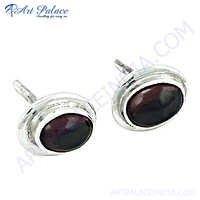 Garnet Gemstone Silver Earrings In 925 Sterling Silver