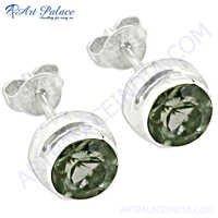 Sterling Silver Green Amethyst Gemstone Silver Earrings
