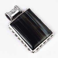 Victorian Black Onyx Gemstone Silver Pendant