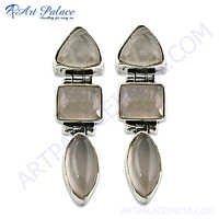 Charming  Rose Quartz Gemstone Silver Earrings