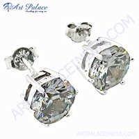 Elegant Fancy Crystal Silver Earrings