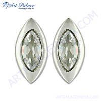 Sterling Silver Garnet Cubic Zirconia Stud Earring For Girls