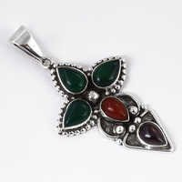 Fastival Designer Multi Gemstone Silver Pendant
