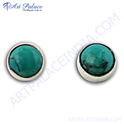 Silver Synthetic Terquoise Gemstone Earrings