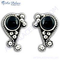 Antique Style Silver Synthetic Black Onyx Gemstone Earrings